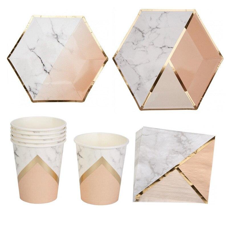 Ensemble de vaisselle jetables en marbre | Or rose menthe vert marbre assiettes en papier, gobelets serviettes de table pour dîner gâteau fournitures de fête de mariage 16