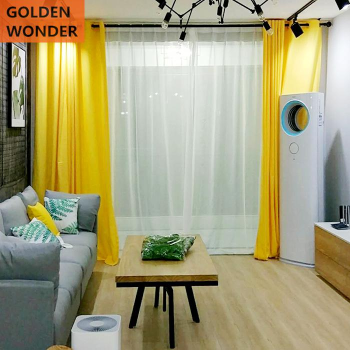 Modern Lemon Bright Yellow Color Cotton And Linen Curtains For Living Room Simple Fashion Home Decoration