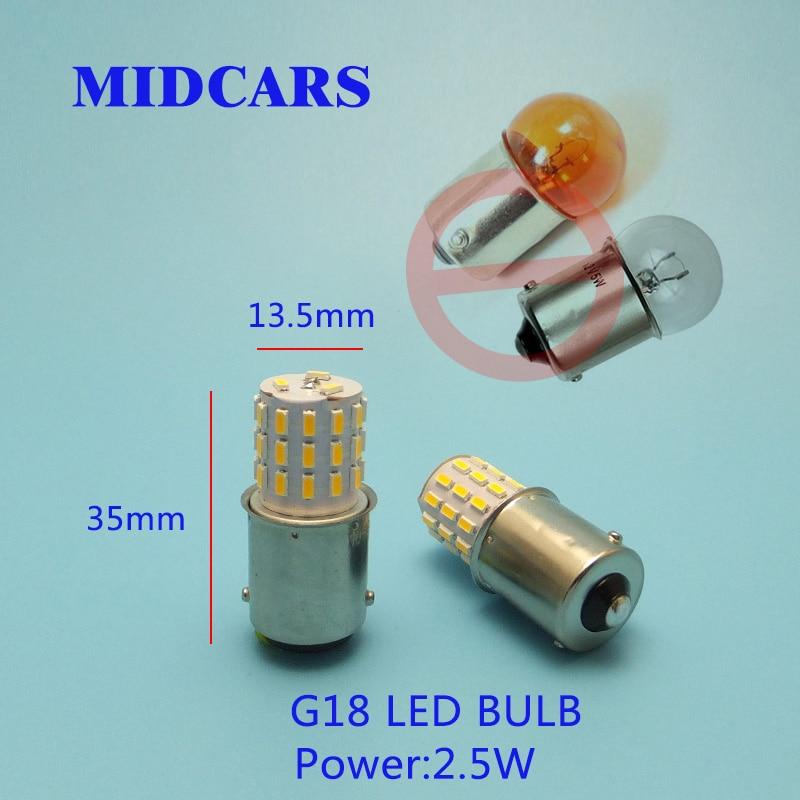 MIDCARS G18 BA15S 12-24V LED Bulbs P5W Tail Turn Light R5W Lamp Parking Reserve Light Source BA15D BAY15D Ship Light