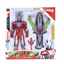 ultraman Tiga light music shapeshifter wears a solo superman and galactic spark summoner toy set as gift to children