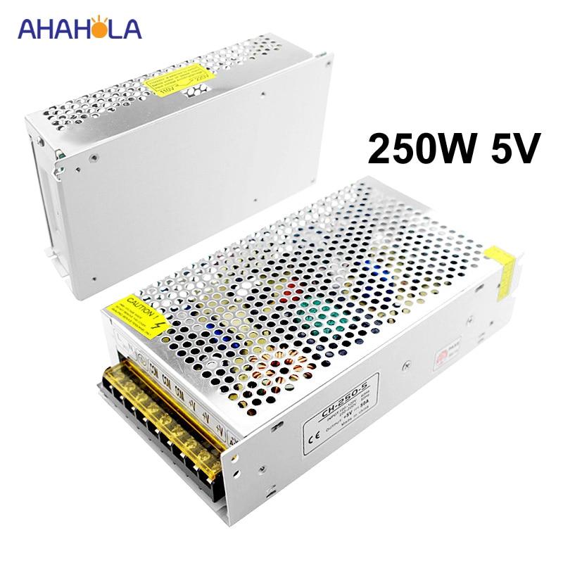AC 220 v до 5 v блок питания 50a 250 w для светодиодной ленты импульсный источник питания 5 v 250 w AC DC 5 V источник питания 5 v Fonte