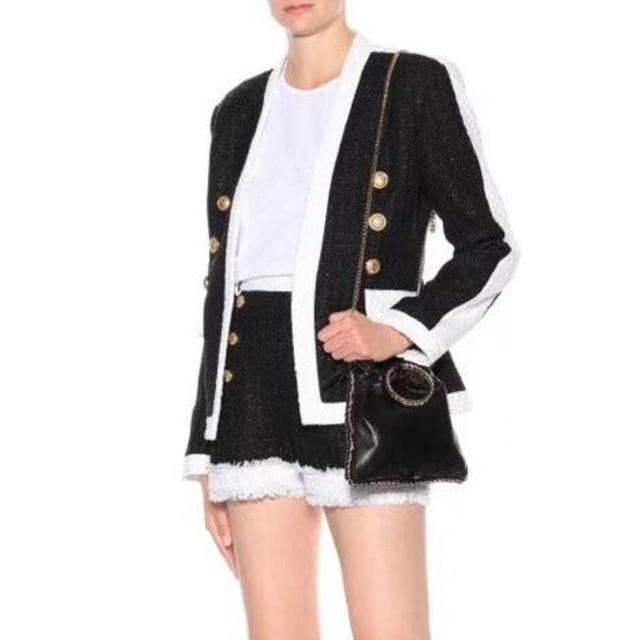 White Collar Black Woolen Tweed Blazer Coat + Shorts Pants Winter Suit Women Double Breasted Office Ladies Two Piece Set Suits
