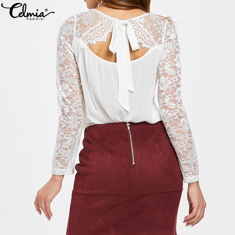 Celmia Summer Women White Lace Blouses Long Sleeve Patchwork Sexy Hollow Backless Shirts Casual Loose Blusas Plus Size Tops 2019
