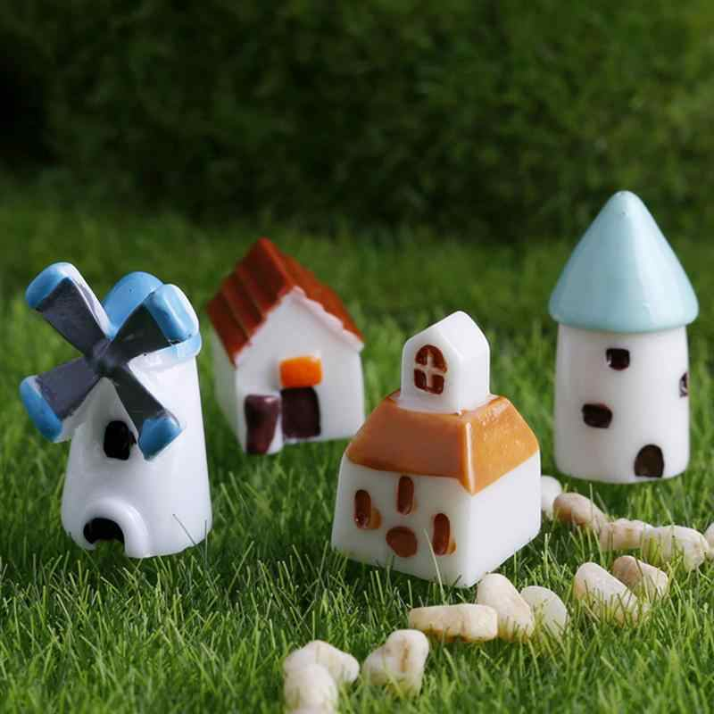 8Pcs Resin Miniatures Mini Castles Cabins Windmills Churches Fish Tank Decors Micro Landscapes Ornaments Crafts