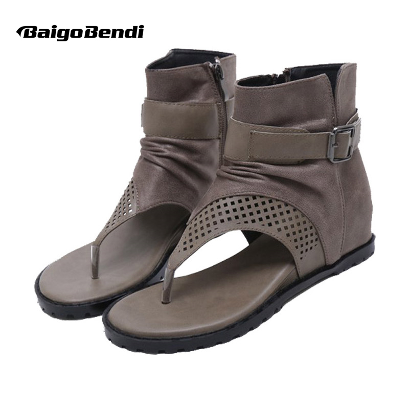 Ladies Summer Hight Cut Sandals Wedges Heels Heighten Shoes Woman Gladiator Style Flip Flop Hollow Out Rome