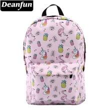 Deanfun女の子のためのユニコーン防水フラミンゴダイヤモンドパターンバックパック十代のスクールバッグ 80043