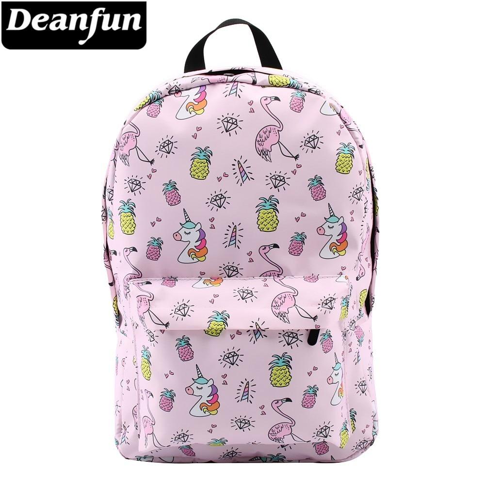 Deanfun Backpack For Girls Unicorn Water Resistant Flamingo Diamond Pattern Backpacks Teenage School Bag  80043