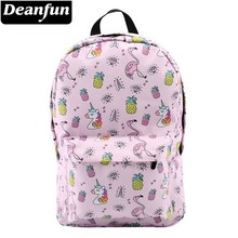 Deanfun mochila para meninas unicórnio à prova de água flamingo diamante padrão mochilas saco escolar adolescente 80043