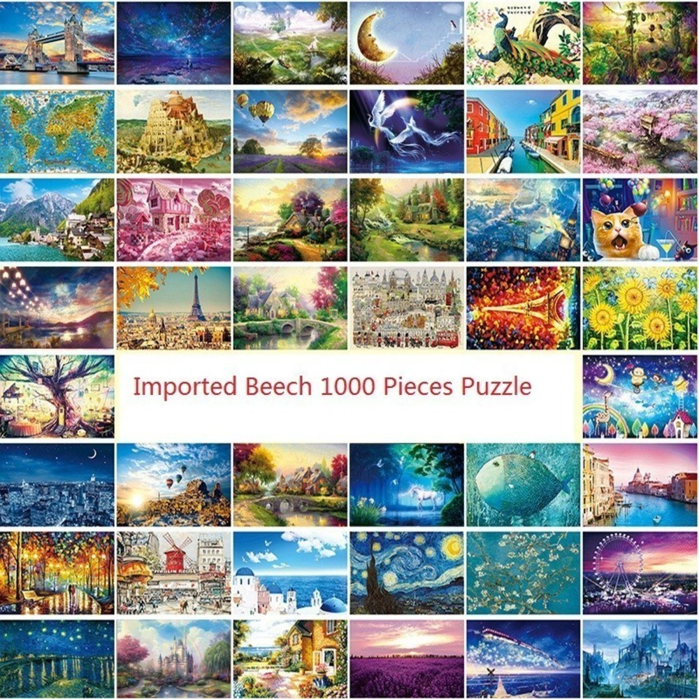 Wooden Jigsaw Puzzle 1000 Pieces World Famous Painting Puzzles Toys For Adults Children Kids Toy Home Decoration Collectable New