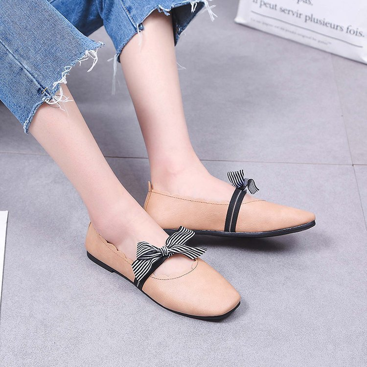 Spring Autumn Women Casual Shoes Female Flats Loafers Square Toe Butterfly knot Lace Ladies Footwear New Arrival Dropshipping in Women 39 s Flats from Shoes