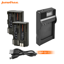 Powtree 2800mAh BP-511 BP511 BP 511 BP-511A Battery+LCD Charger For Canon G6 G5 G3 G2 G1 EOS 300D 50D 40D 30D 20D 5D L10 3 x 8400mah bp 970g bp 970g bp 975 batteries lcd dual quick charger kits for canon eos c100 mark ii eos c300 xf100 xf105