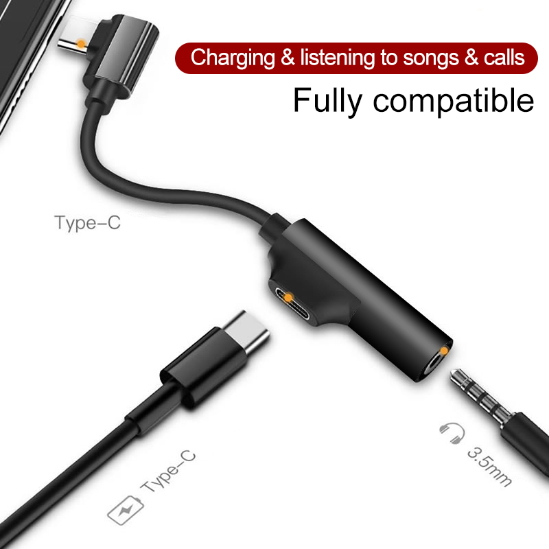 Type C <font><b>Adapter</b></font> Audio Charging 2 in 1 Type-C Male <font><b>to</b></font> <font><b>3.5</b></font> <font><b>mm</b></font> Female <font><b>Headphone</b></font> <font><b>Jack</b></font> Aux Charging Converter For A1 Huawei P20 Lite image