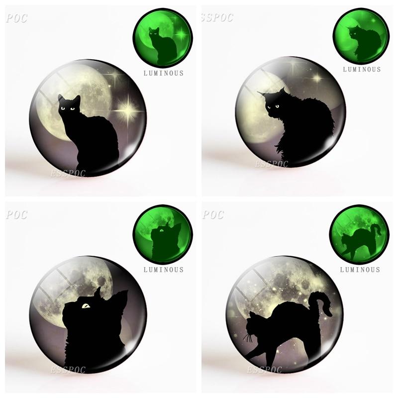 5pcs/set  Fashion Black Cat Glowing Eyes Full Moon Photo Luminous Glass Dome Animal DIY Making Necklace Pendant Jewelry Gift