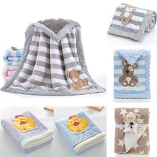 PUDCOCO Cute Baby Kids Rabbit Flannel Blanket Bedding Quilt Soft Play Bear Double Dotted Backing Towel Wrap
