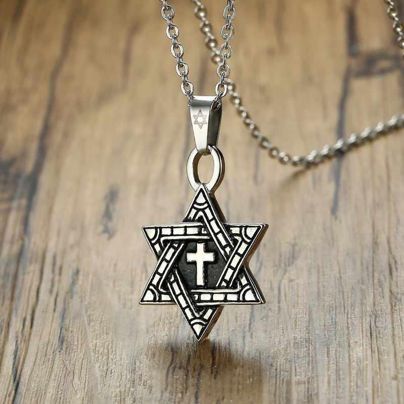 Megan estrela de david com cruz colar homem pingente de aço inoxidável cor prata punk jóias judaicas