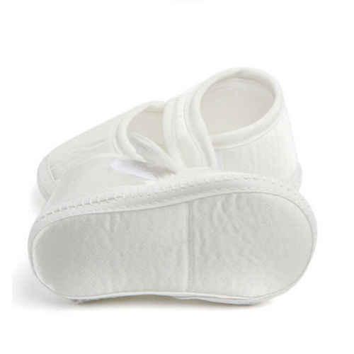 เด็กทารกสีขาว First Walker เด็กวัยหัดเดินเด็กทารกรองเท้าเด็กแรกเกิด Soft Sole รองเท้าผ้าใบสีขาวรองเท้าสำหรับ 0-6month