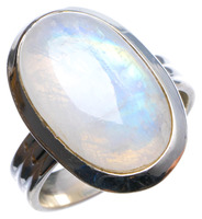 Natural Rainbow Moonstone Handmade Unique 925 Sterling Silver Ring, US size 6.75 X2395