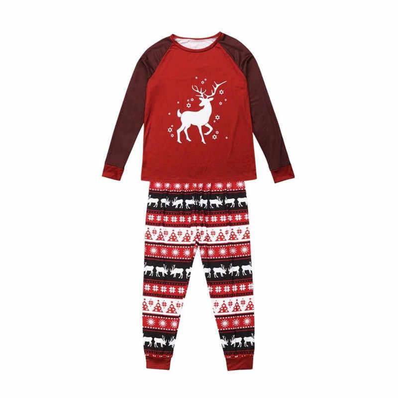 משפחת התאמת חג המולד פיג 'מה סט נשים גברים ילד תינוק בגדי סט צבי ארוך שרוול למעלה ארוך מכנסיים תלבושת הלבשת Nightwear