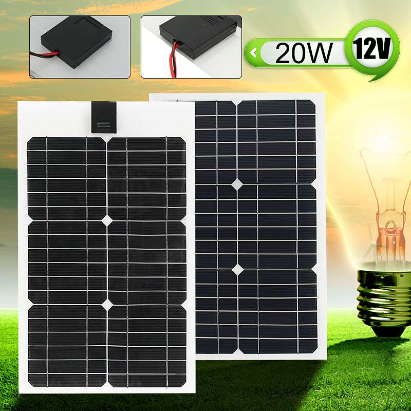 Flexible Solar Panel Plate 12V 20W Solar Charger for Car Battery Charging 18V Monocrystalline Cell Module For Hause,Roof,Boat