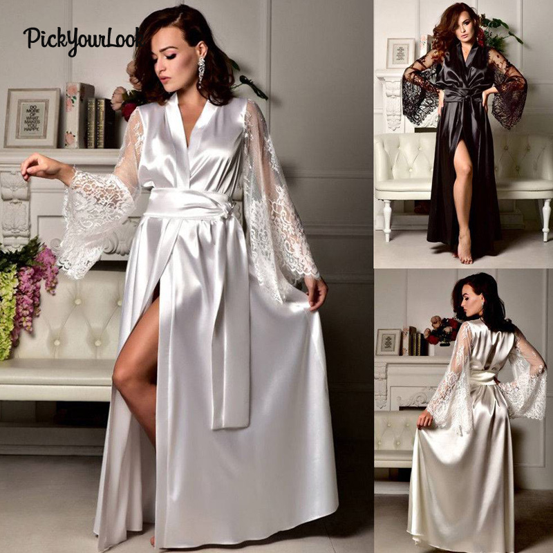 PickyourLook Sexy Women Sleepwear Bathrobe Lace Robe Nightwear Silk Robe peignoir femme NightGowns Bridesmaid Robes Long Robe