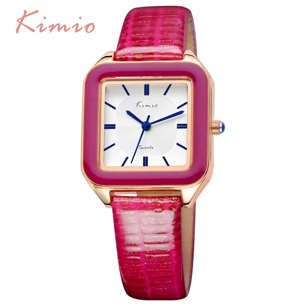 KIMIO Ladies Fashion Bright Color Square Dial Luxury Brand Women's Watches Leather Female Watches Women Wrist Watch For Women