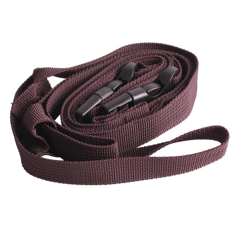 Portable Strapping Tape for Outdoor Clothing with Plastic Buckle Camping Hiking Strap Brown