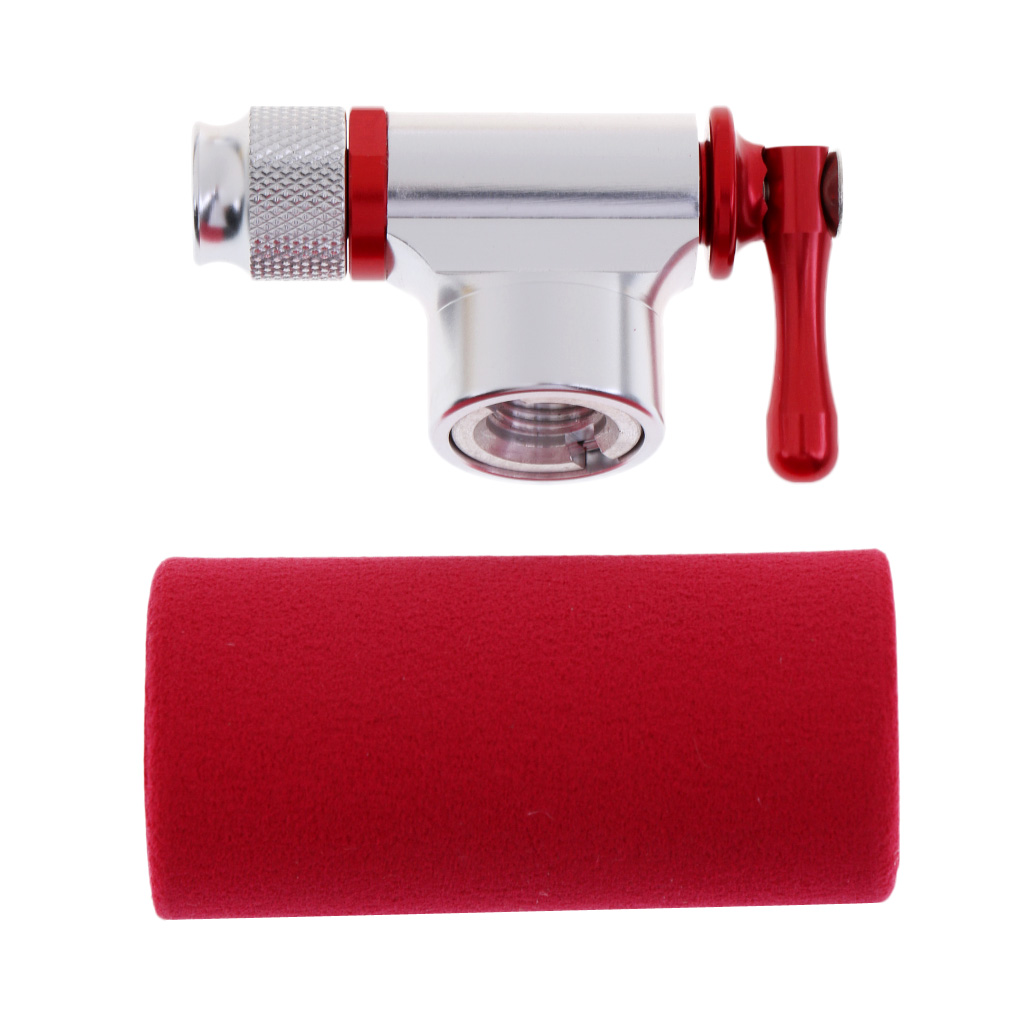Aluminum Alloy CO2 Inflator Head Portable Bicycle Bike Tire Tyre Air Pump with Red Sponge Insulated Sleeve