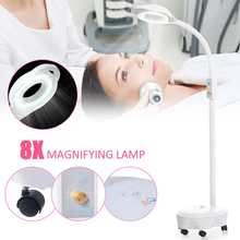 120 LED Magnifying Floor Stand Lamp Magnifier Pro 8X Diopter Glass Cold Ligth Len Facial Light For Beauty Salon Nail Tattoo 220V(China)
