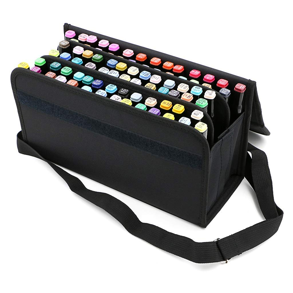 Image 2 - PPYY NEW  80 Slots Large Capacity Folding Marker Pen Case Art Markers Pen Storage Carrying Bag Durable Sketch Tools Organizer-in Pencil Bags from Office & School Supplies