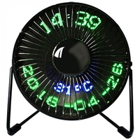 USB fan New Hot Selling Usb Led Clock Mini Fan With Real Time Temperature Display Desktop 360 Cooling Fans For Home Office|Fans| |  -