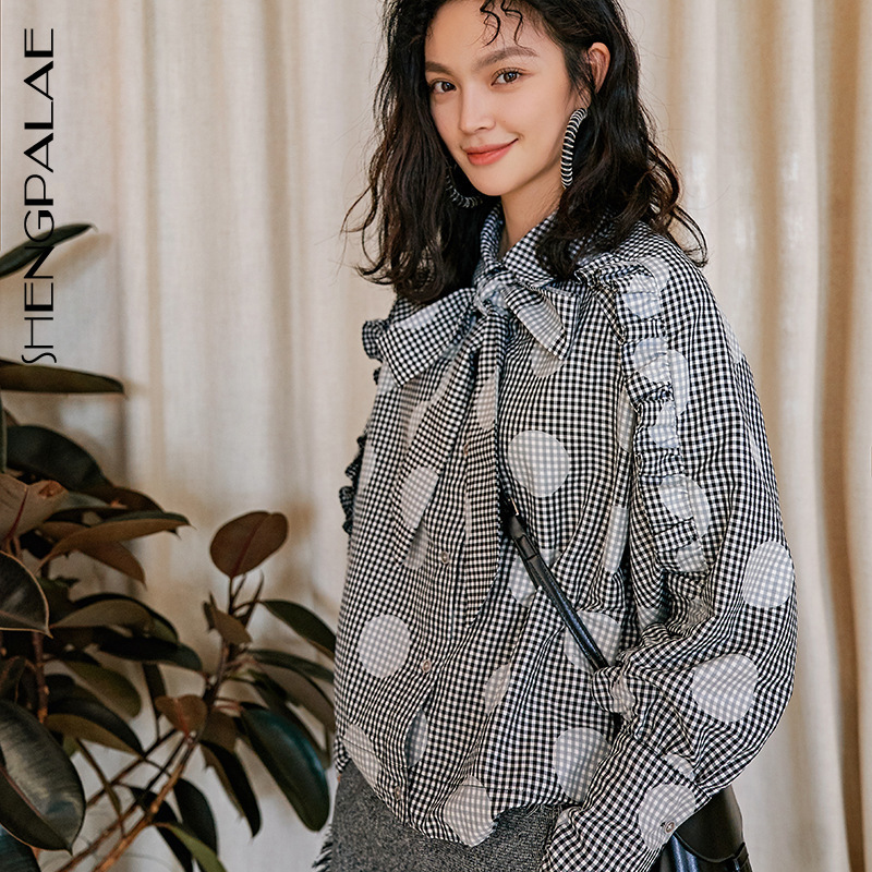 Women's Clothing Sensible Shengpalae 2019 Spring Summer New Fashion Blouse Lattice Dot Printing Long Sleeve Bow Collar Long Sleeve Shirt For Woman Yh34802