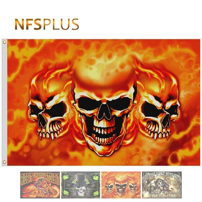 Custom Pirate Flag Skull Printed 90x150cm Polyester Movie Rock Music Banner Flag Home Decorative Halloween Flags and banners