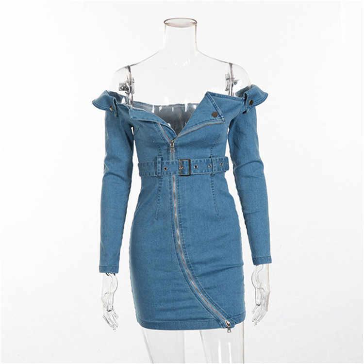 Feditch джинсовое летнее платье с открытыми плечами, с длинным рукавом, с открытой спиной, облегающее Клубное платье, женское сексуальное платье на молнии с поясом