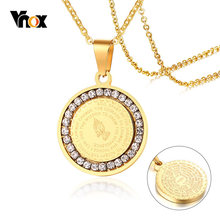 Vnox Double Sides Wear Bible Verse Prayer Necklace For Women Men Coin Pendant Christian Praying Hands Stainless Steel Jewelry(China)