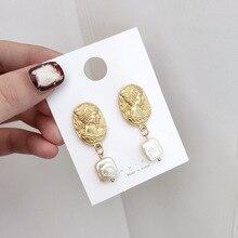 Korean Earrings Pearl Vintage Shell Matte Metal Head Portrait Geometric For Women Baroque Punk Summer
