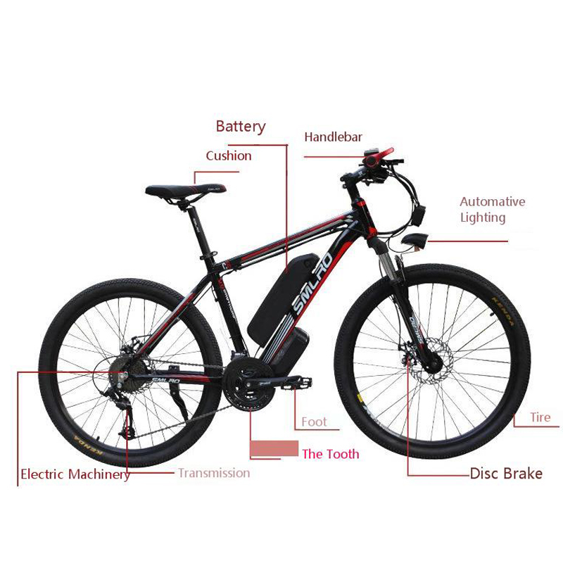 SMLRO Lithium Battery Mountain Motor driven Bicycle electric fat bike 26 inch 48V 10AH 500W 27
