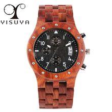 цена Natural Wooden Watch for Men Quartz Analog Red Sandalwood Black Dial Bamboo Watch for Male Full Wood Bangle Wristwatch for Boys онлайн в 2017 году