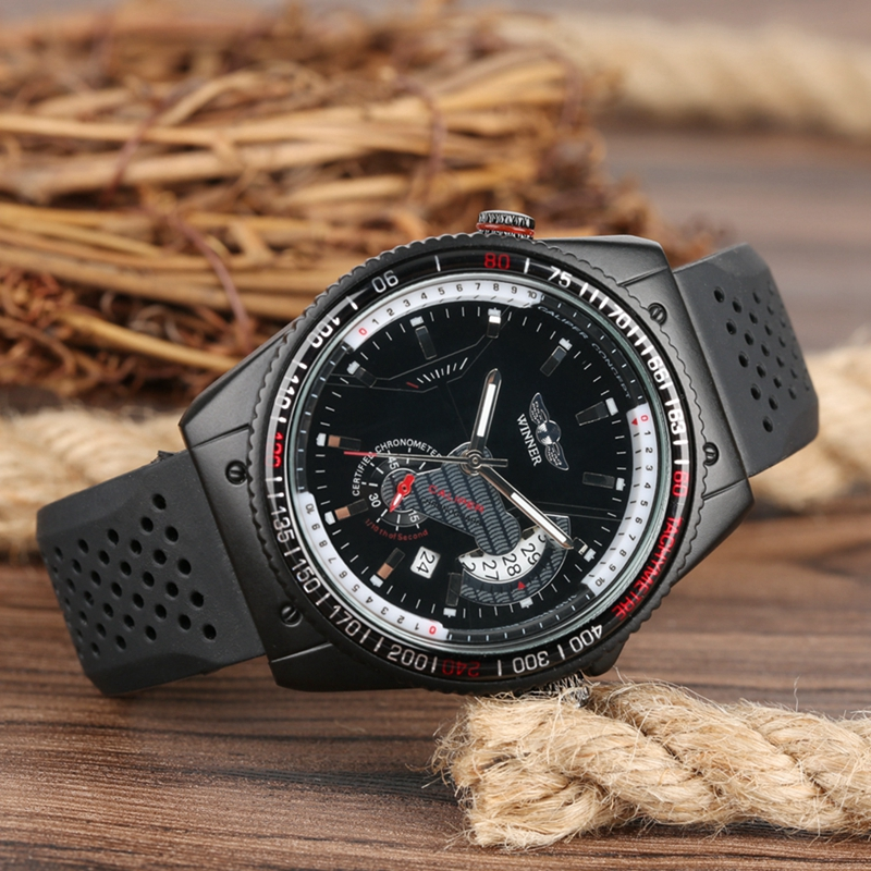 WINNER Top Luxury Brand Automatic Mechanical Watch Unique Men Watch Precise Dial Date Sports Rubber Silicone Band Mens WatchesWINNER Top Luxury Brand Automatic Mechanical Watch Unique Men Watch Precise Dial Date Sports Rubber Silicone Band Mens Watches