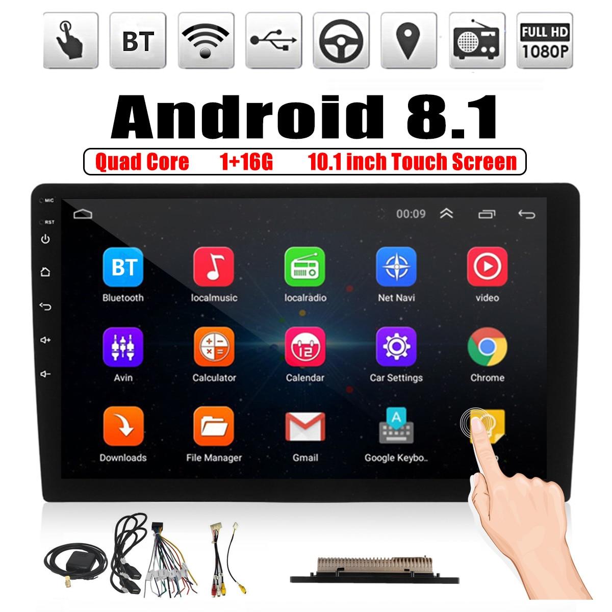10.1 pouces 2 DIN Android 8.1 bluetooth voiture stéréo Quad Core 1 + 16G WIFI DAB GPS Radio lecteur vidéo MP5 lecteur voiture Auto électronique