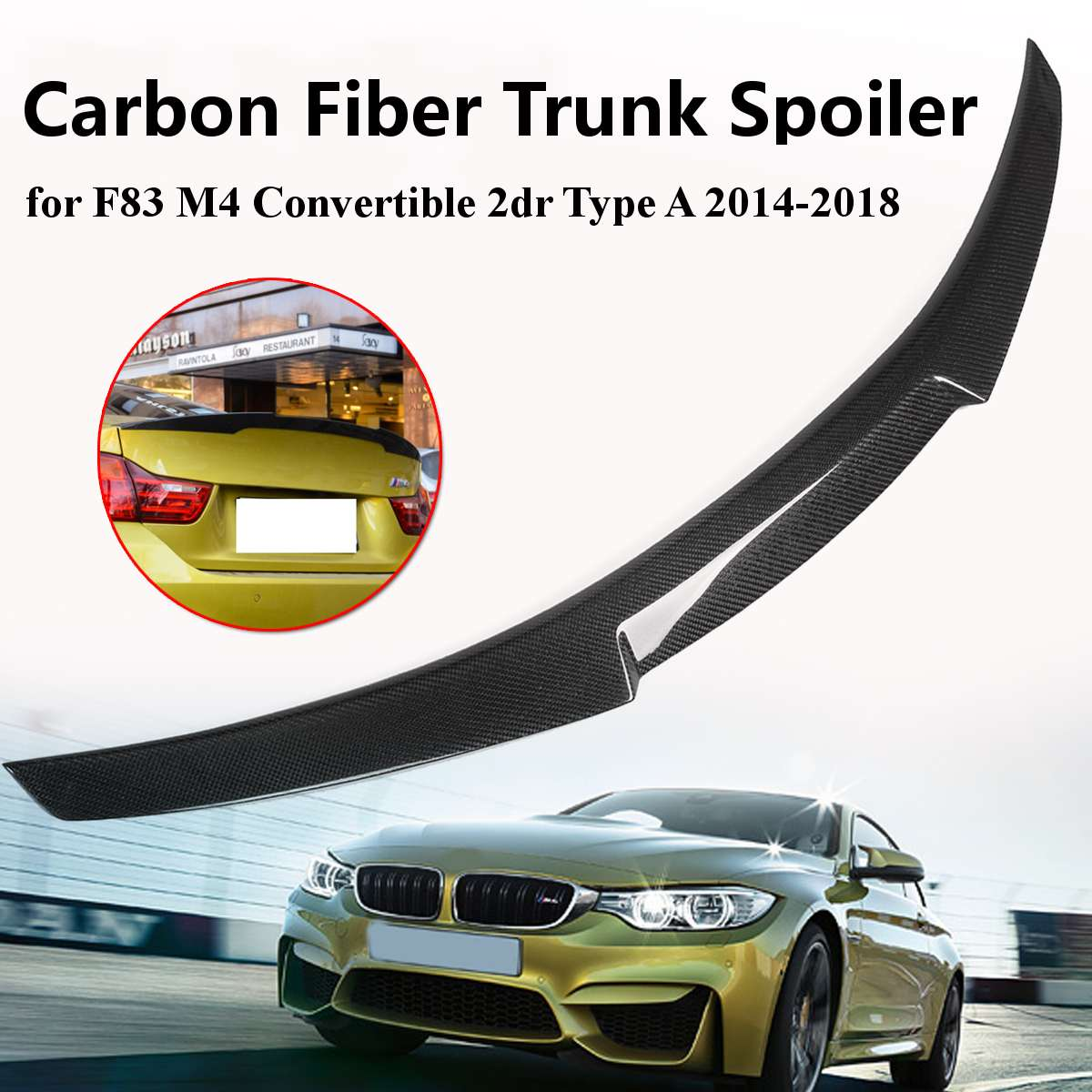 1x For BMW F83 M4 2014 2018 Convertible 2dr Type A Carbon Fiber Rear Trunk Spoiler Wing Light Weight Durability Spoiler Lid