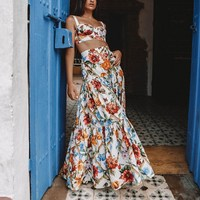 Plus Size 2019 New Sexy Two Piece Set Women Beach Straps Top Maxi Skirt Floral Print Suits Bohemian Set Skirt Overall