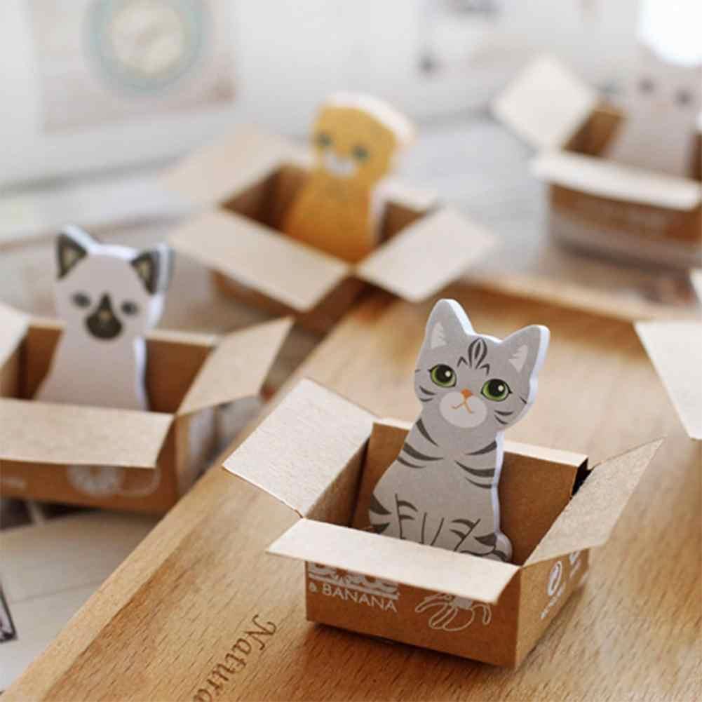 Forkawaii Chó Mèo Hộp Miếng Dán Hoạt Hình Dễ Thương Hàn Quốc Văn Phòng Phẩm Giấy Dán Ghi Chú Văn Phòng Học Tập Memo Pad Sổ Lưu R20