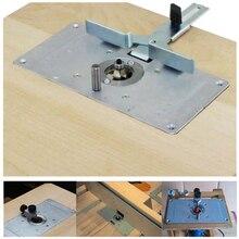 Juego de placa de inserción de mesa enrutadora de aluminio con 4 anillos, tornillos para carpintería, bancos de placa de mesa, enrutador, placa de mesa DIY, 6 uds.