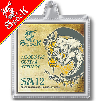 Spock SA12 Silver Plated Acoustic Guitar Strings Stainless Steel Core 010-047 inch Silver Plated Copper Alloy Wound image