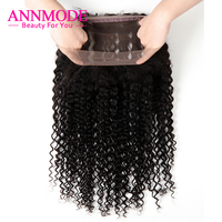 Annmode Kinky Curly 360 Lace Frontal Closure Free Part 22.5*4*2 With Natural Hairline Non Remy Brazilian Human Hair Lace Frontal