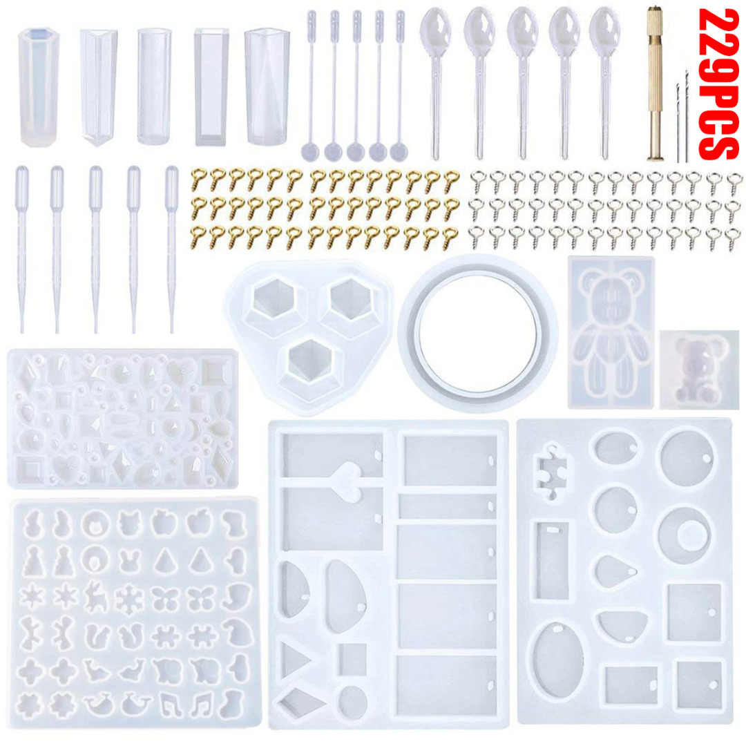 229Pcs Resin Casting Molds Kit Silicone Mold For Making Jewelry Necklace Pendant Mould Hand Craft DIY Tools Set