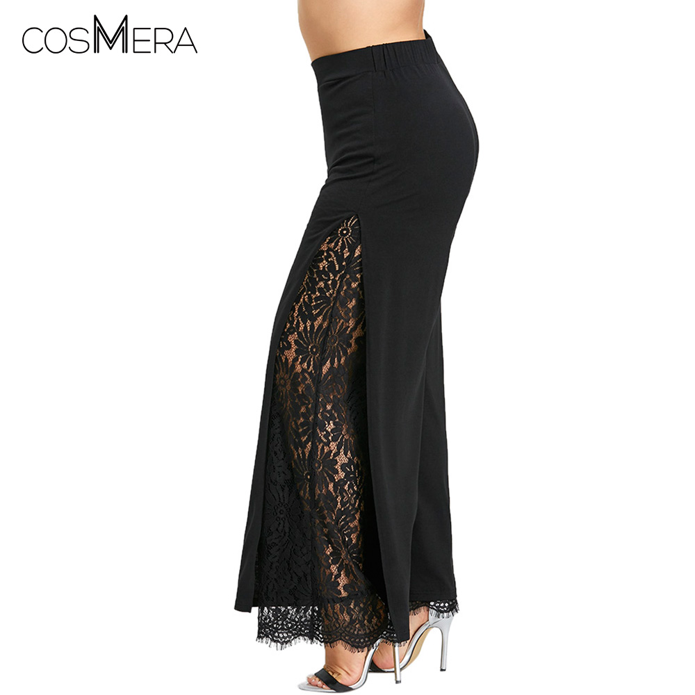 CosMera Women   Wide     Leg     Pants   Female High Slit Lace Palazzo   Pants   Trousers Straight Long Big Size Casual Loose   Pants   Plus Size