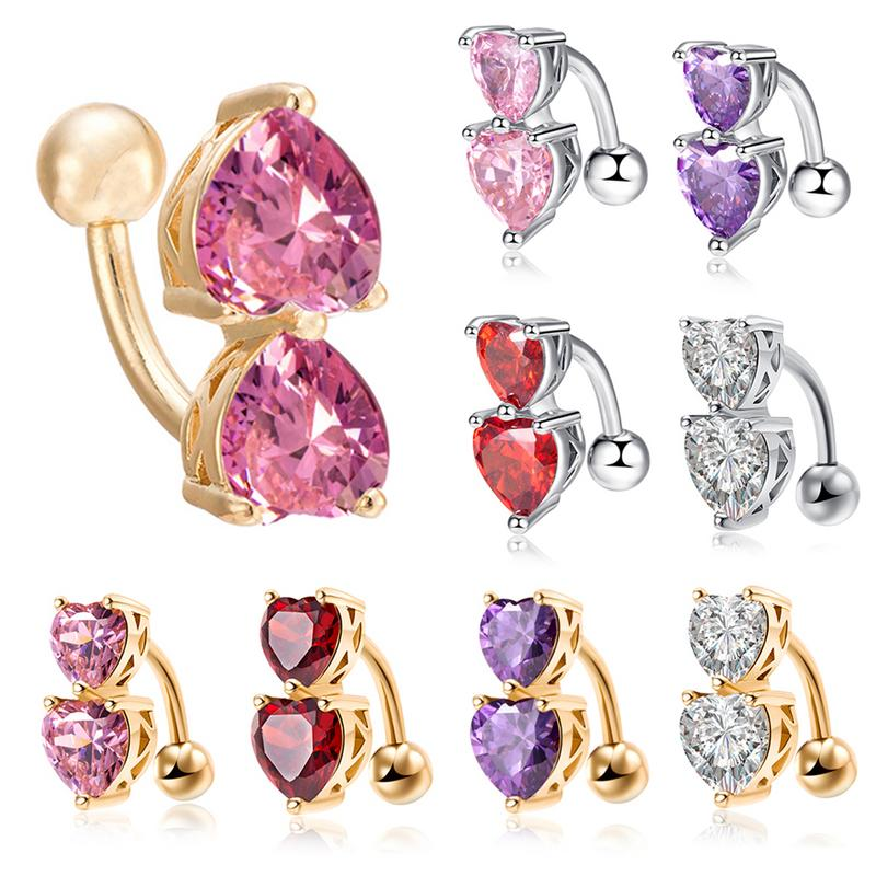 Fashion Love Heart Belly Button Rings Bar Plated Surgical Piercing Sexy Body Jewelry For Women Navel Piercing