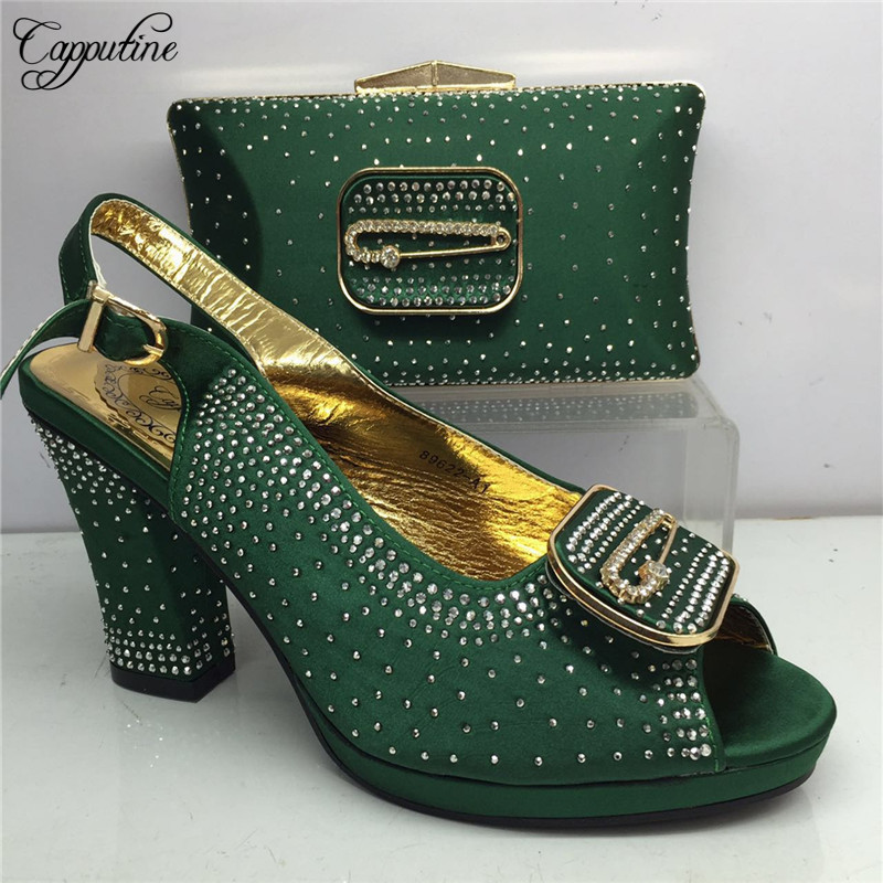 Capputine New Italian Green Color Shoes And Bag Set 2019 Hot Sale African Women Pumps Shoes And Bag Set For Party Dress BL215C