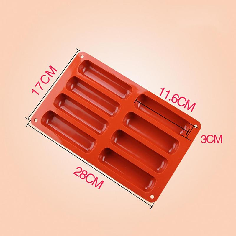 Silicone Forms Long Strip Finger Biscuit Silicone Mold 8 Holes Oven Cake Puff Ice Mould Tray Bakeware DIY Kitchen Baking Tools